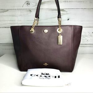 COACH Pebbled Turnlock Chain Tote NWOT